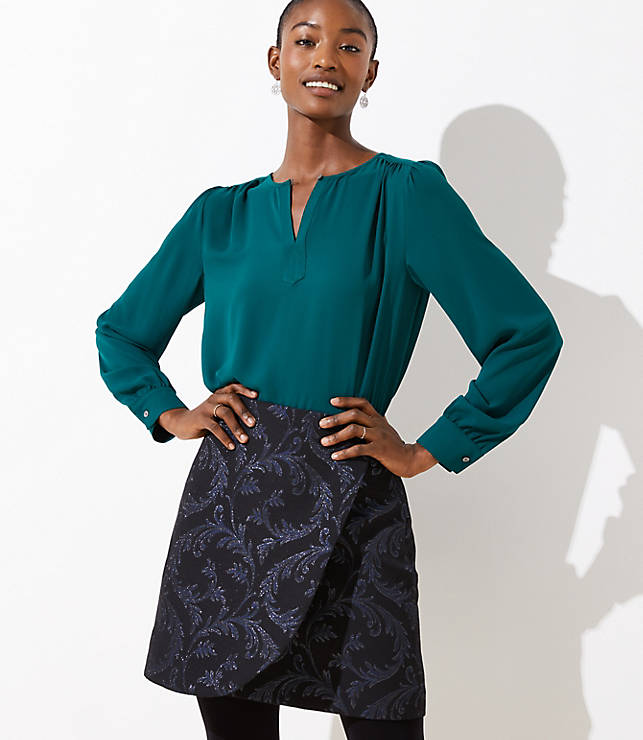 Petite Vine Jacquard Wrap Skirt