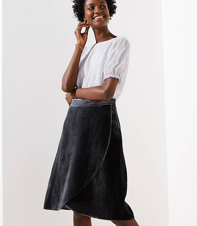 Petite Velvet Wrap Skirt