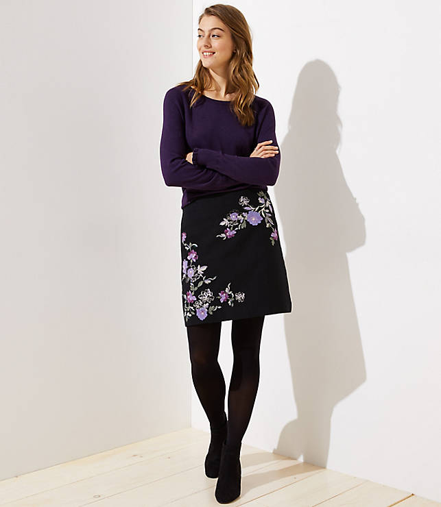 Petite Floral Embroidered Shift Skirt