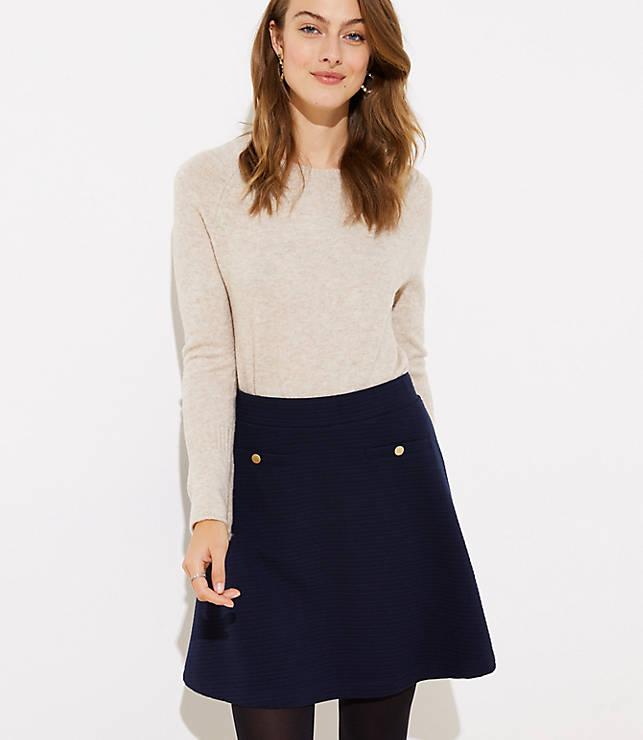 Petite Button Pocket Flippy Skirt