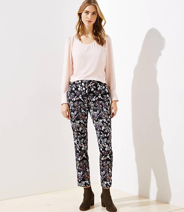 Petite Slim Floral Jacquard Pencil Pants in Marisa Fit