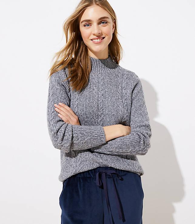 e6a6cca3089eeb Mock Neck Cable Sweater | LOFT
