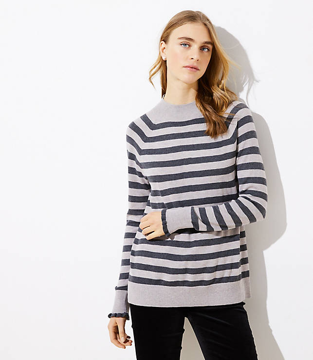 Petite Striped Ruffle Cuff Mock Neck Sweater