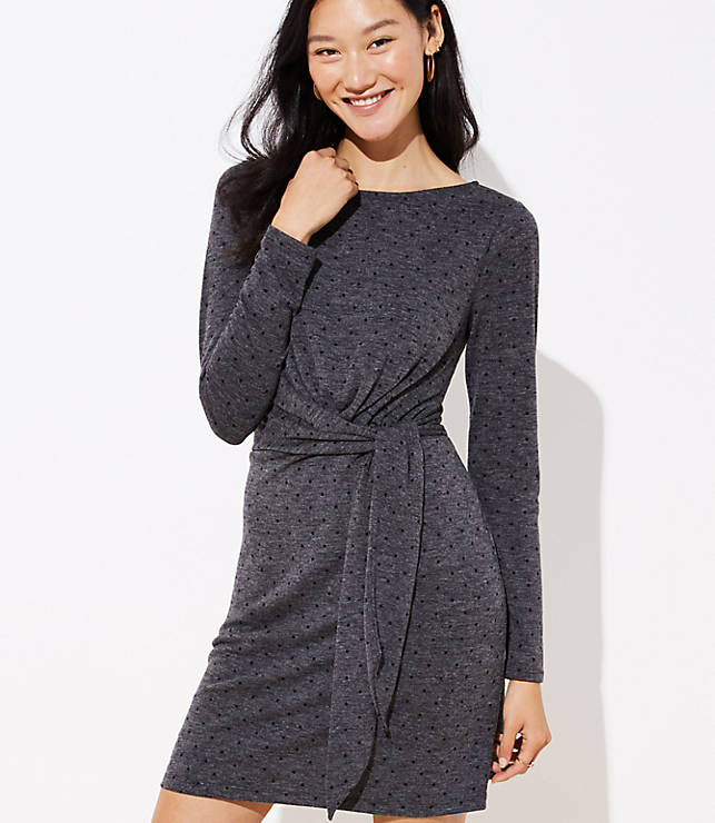Petite Dotted Wrap Dress