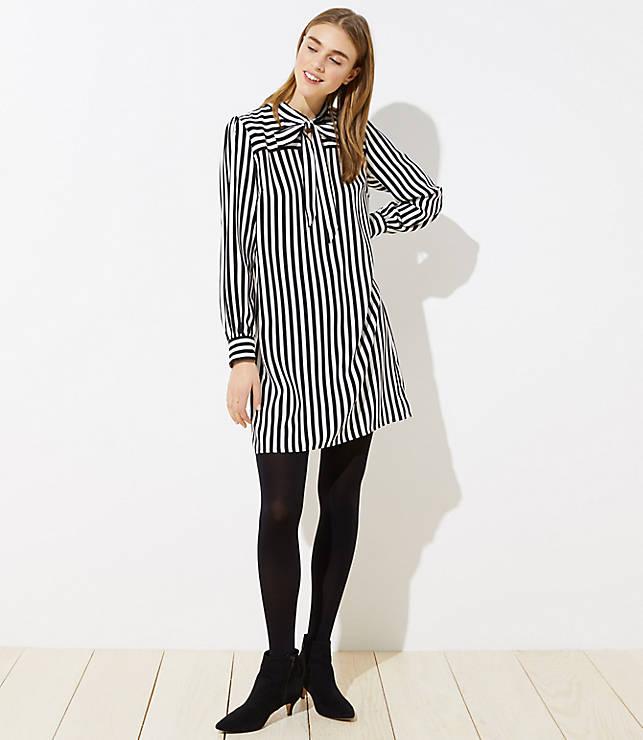 Petite Striped Tie Neck Dress
