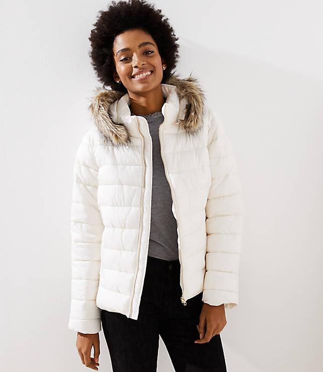 Petite Faux Fur Trim Hooded Puffer Coat