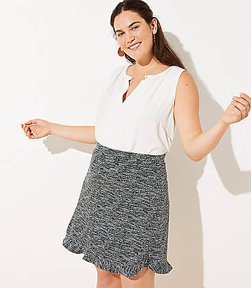 a1567042134 LOFT Plus Spacedye Flounce Pull On Skirt