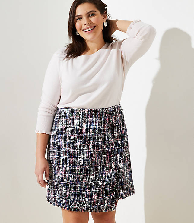 ec4bd31be7 LOFT Plus Tweed Wrap Skirt