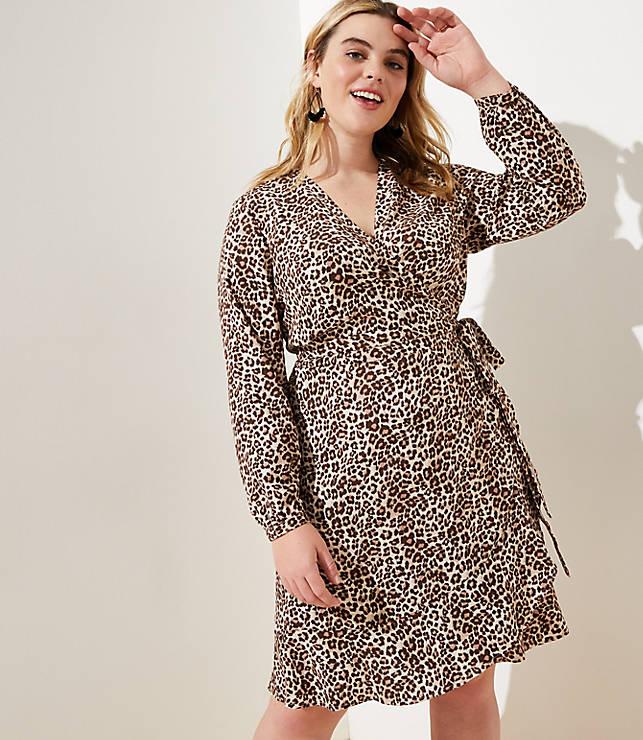 d1229d4b50935 LOFT Plus Leopard Print Ruffle Wrap Dress