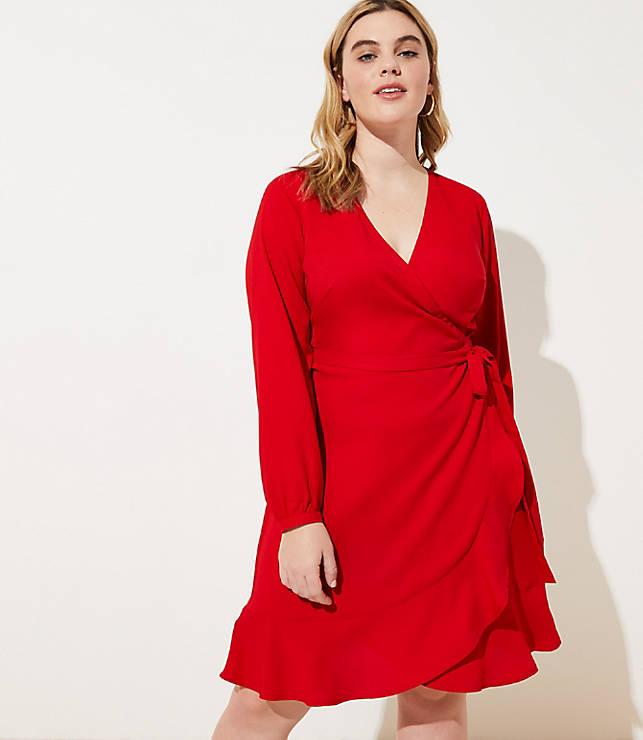 7bd0f52c58c LOFT Plus Ruffle Wrap Dress
