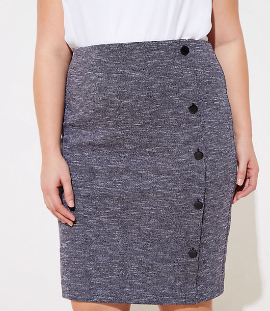 f4a2d5ba8 Image 2 of 3 - LOFT Plus Side Button Pull On Pencil Skirt