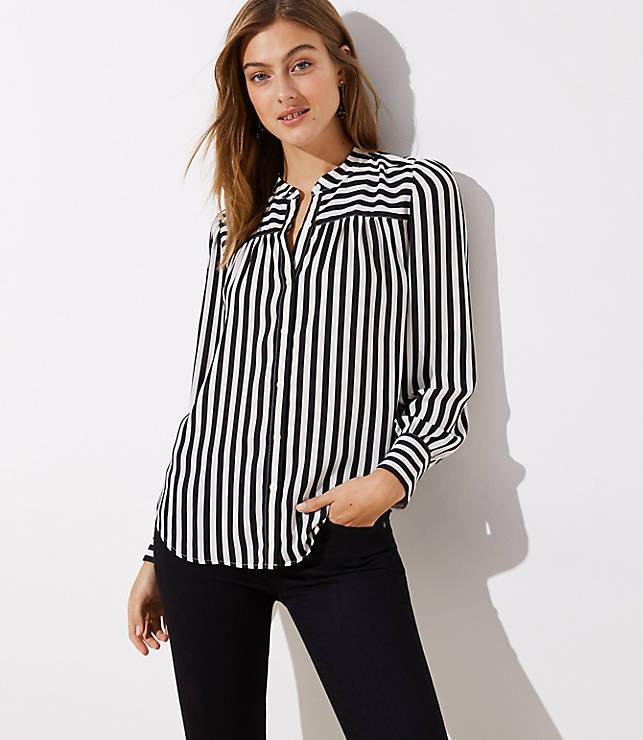 Petite Mixed Stripe Puff Sleeve Blouse
