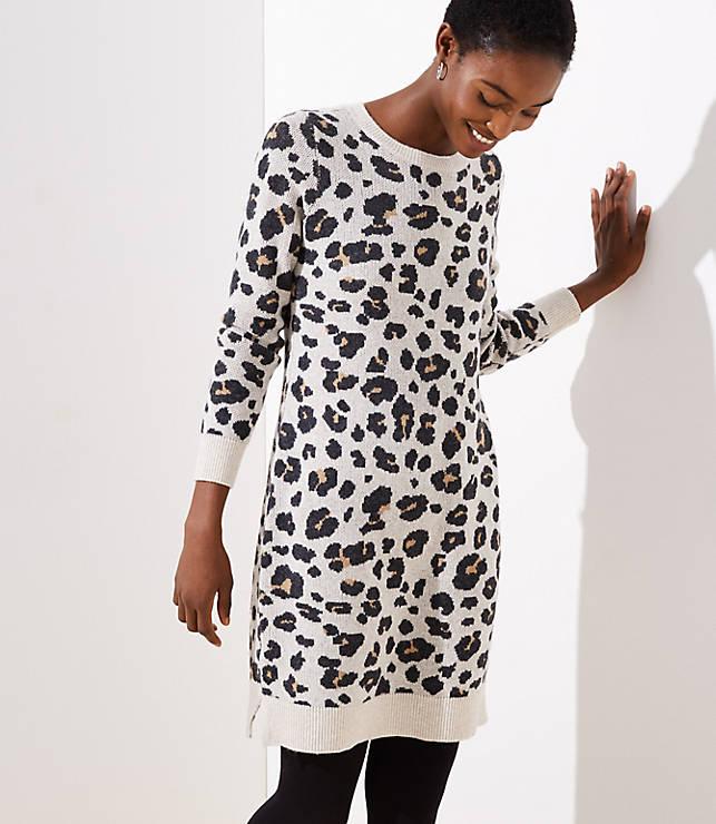 Petite Leopard Sweater Dress