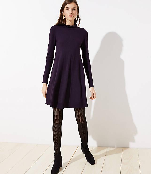 Petite Ruffle Mock Neck Sweater Dress
