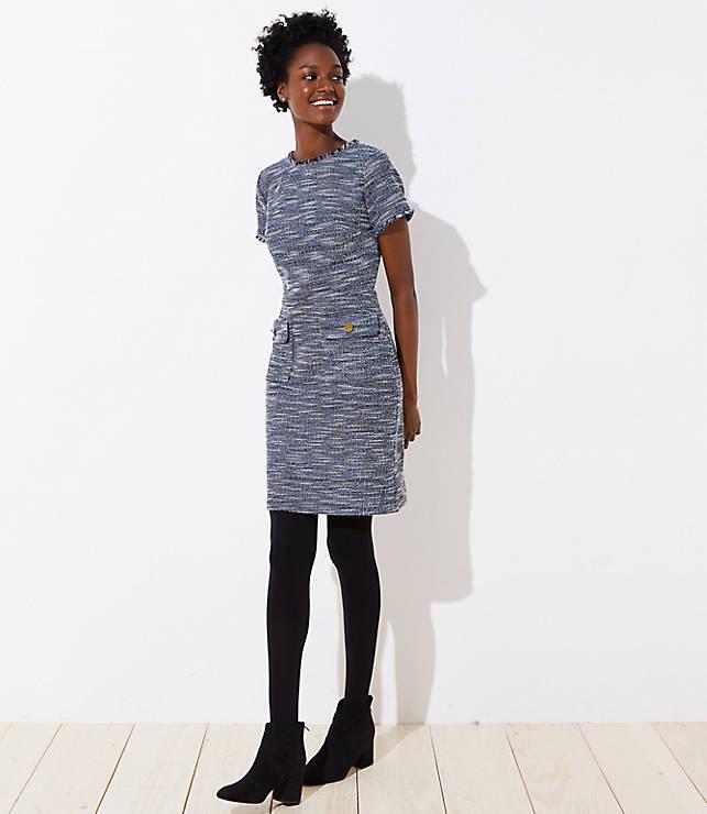 Petite Boucle Button Pocket Dress