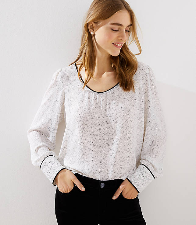 Petite Dotted Piped Scoop Neck Blouse