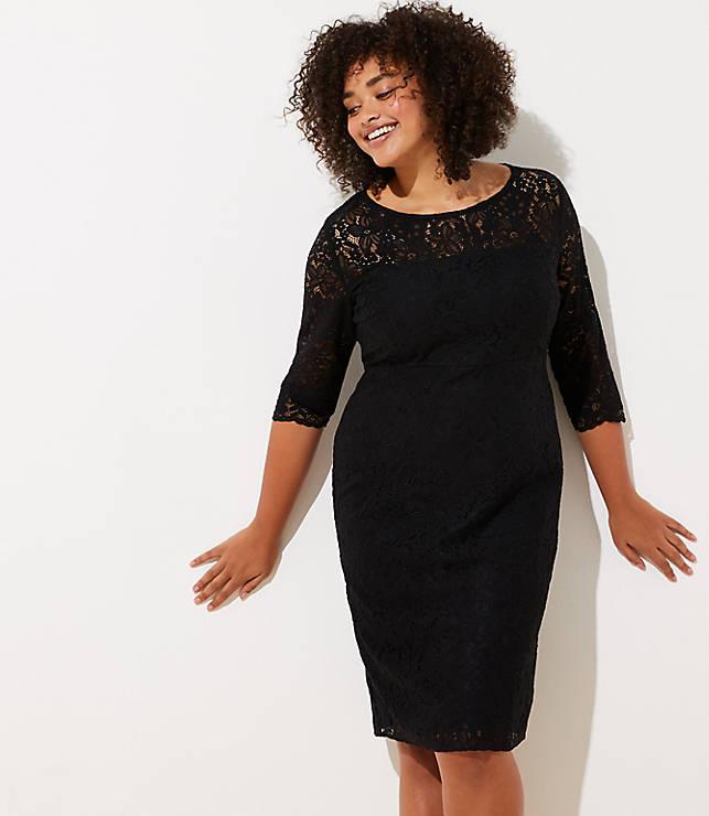 ac18336879280 LOFT Plus Cutout Back Lace Dress