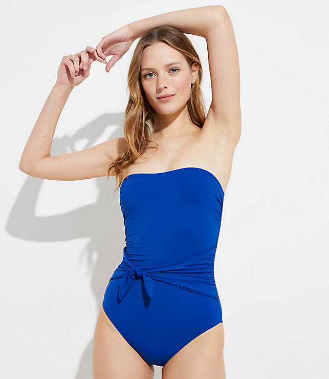 df1af1e2ec7 LOFT Beach Belted Bandeau One Piece Swimsuit | LOFT
