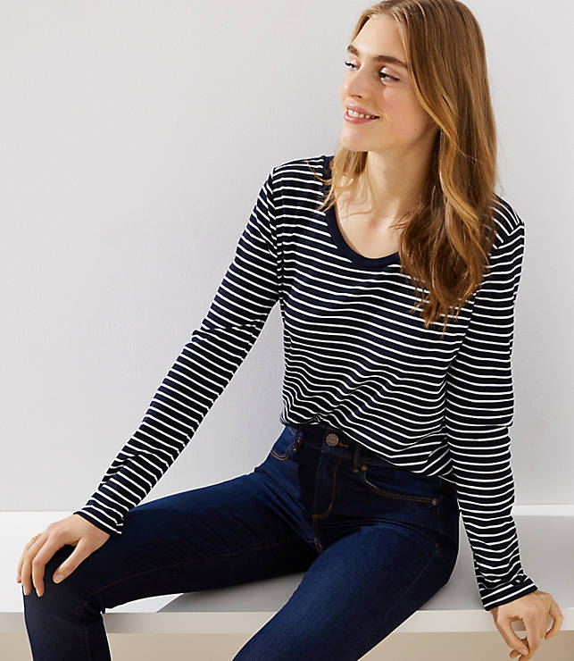 Petite Striped Scoop Neck Tee