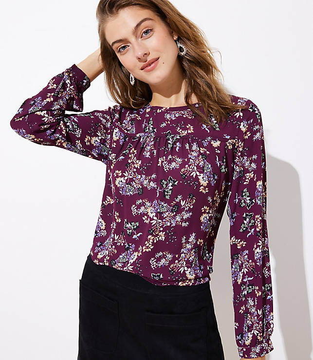 Petite Primrose Velvet Trim Mixed Media Top