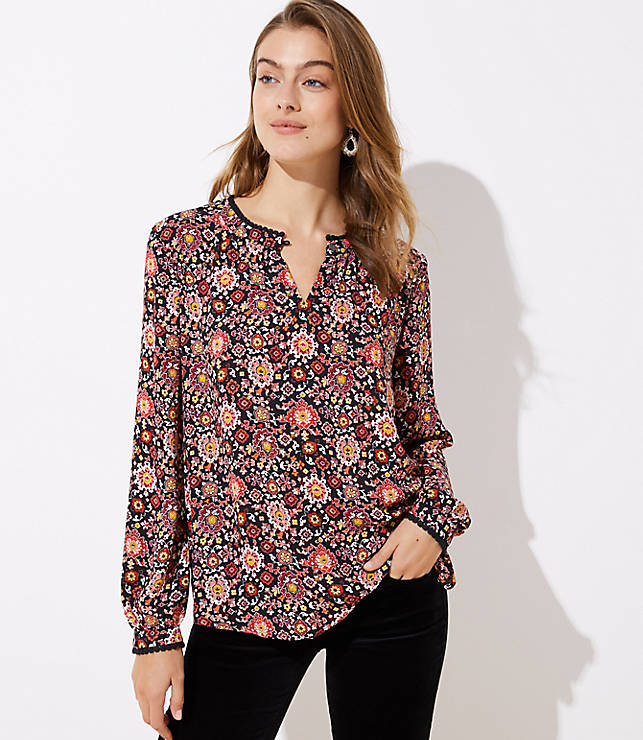 Petite Floral Lacy Split Neck Tunic