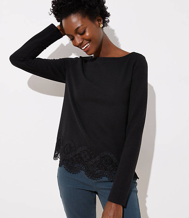 Lace Trim Boatneck Tee by Loft