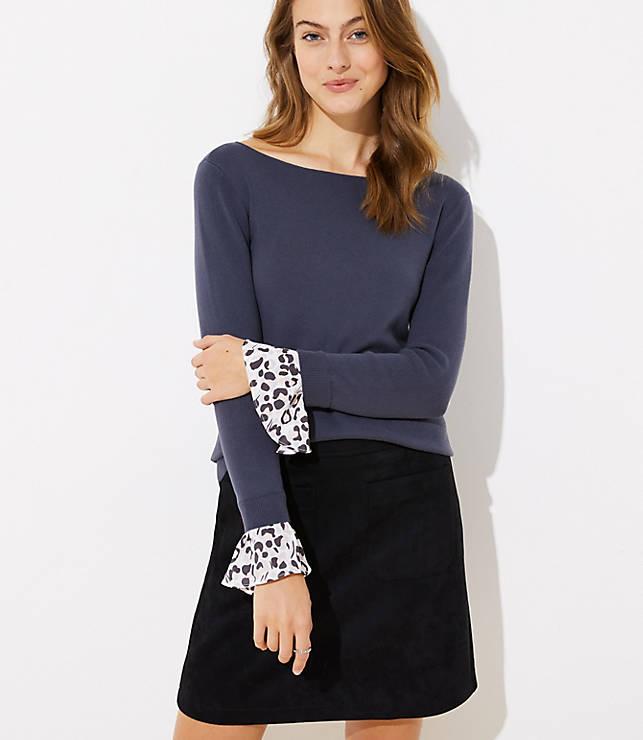 Petite Spotted Flounce Cuff Sweater