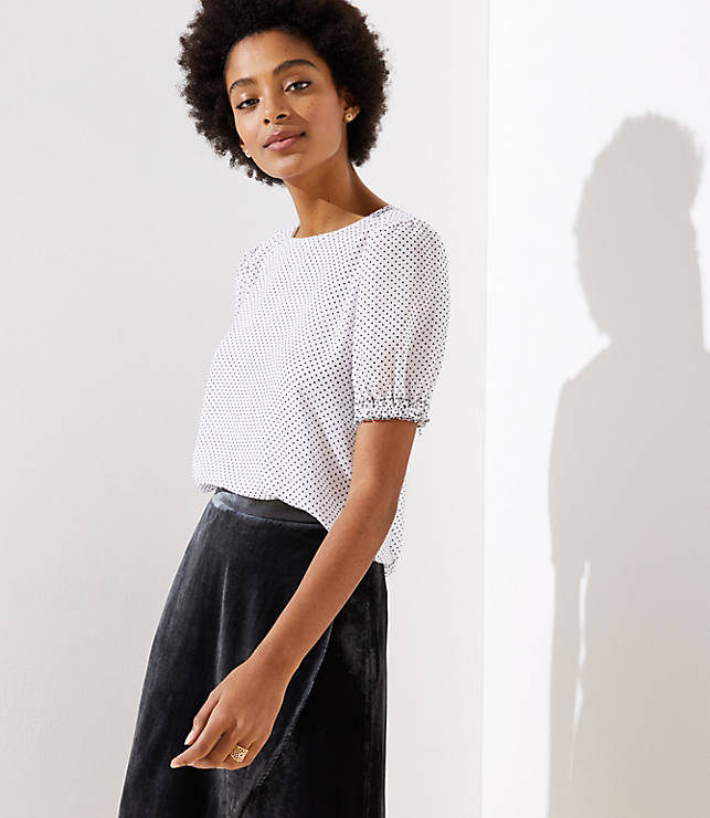 Petite Dotted Puff Sleeve Top
