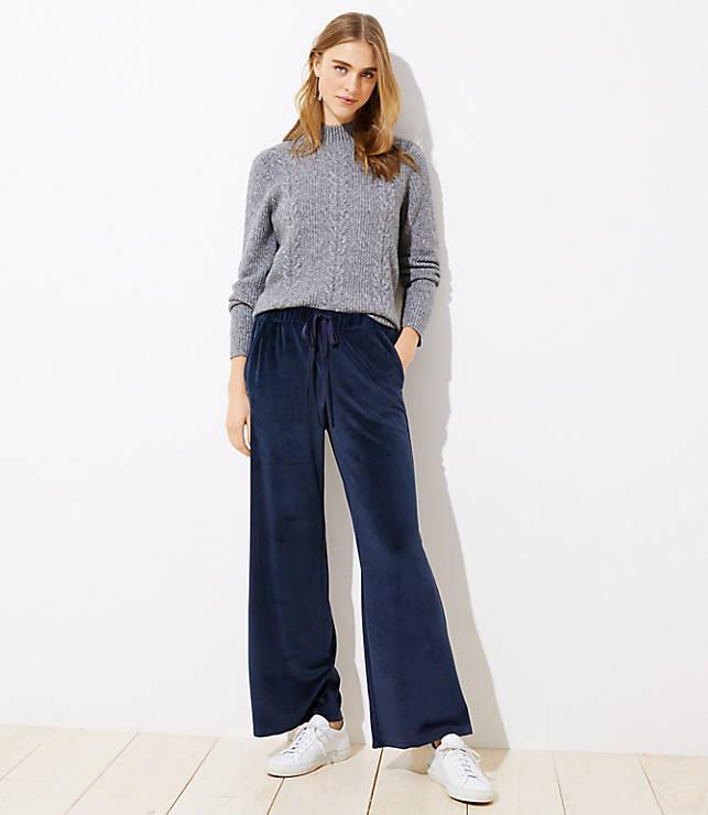 f9a2d7da1d Petite Velour Wide Leg Drawstring Pants | LOFT