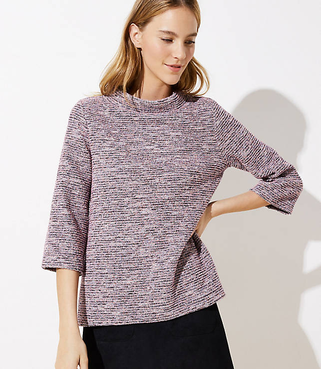 Petite Textured Mock Neck Top