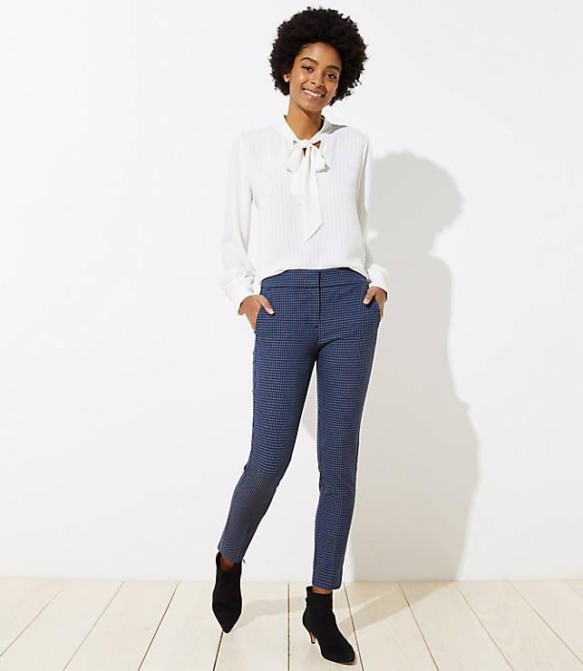 Petite Skinny Ankle Pants in Check in Marisa Fit