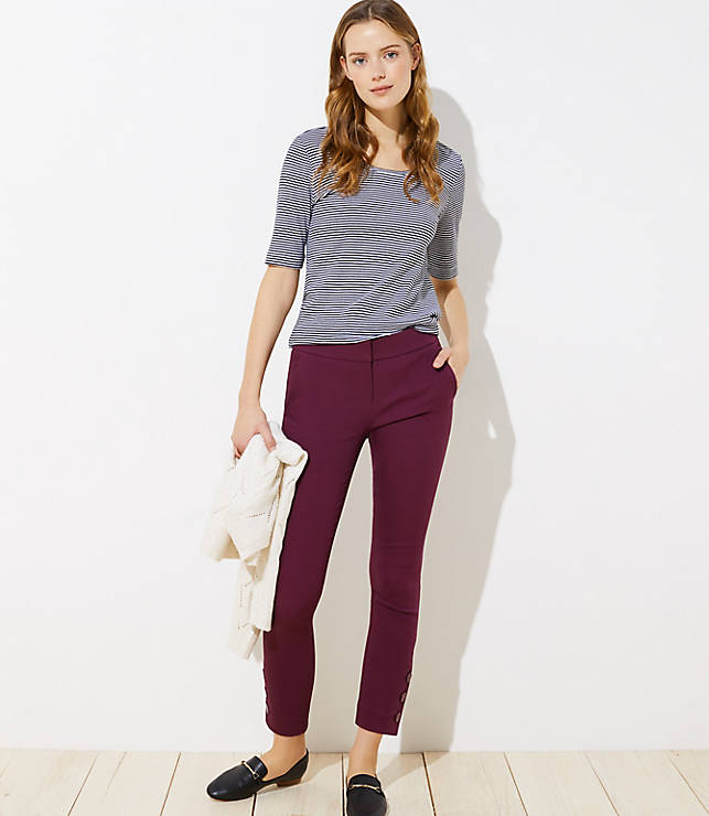 Petite Skinny Button Cuff Ankle Pants in Marisa Fit