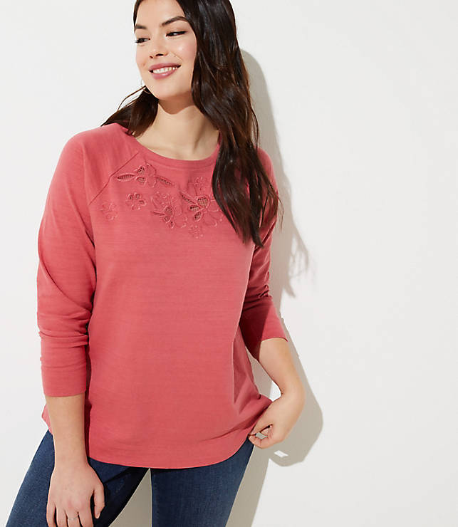0fa0e02e4364d LOFT Plus Embroidered Floral Eyelet Sweatshirt