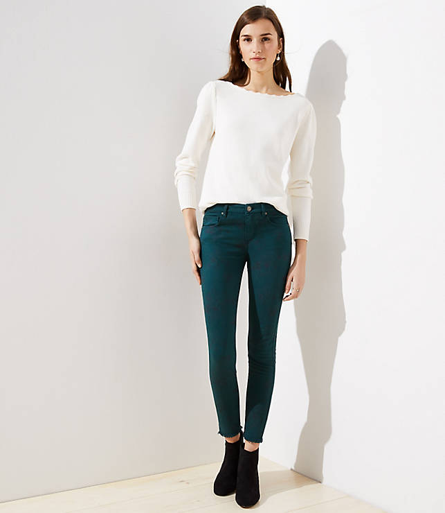 Petite Modern Floral Frayed Skinny Jeans