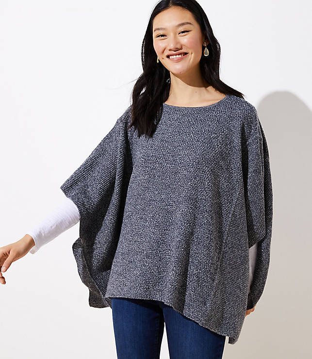 Textured Poncho Sweater Loft