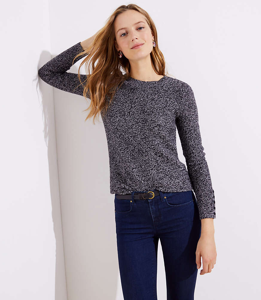 Marled Button Cuff Sweater