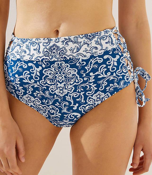 92fd8490d8 LOFT Beach Paisley Lace Up High Waist Bikini Bottoms | LOFT