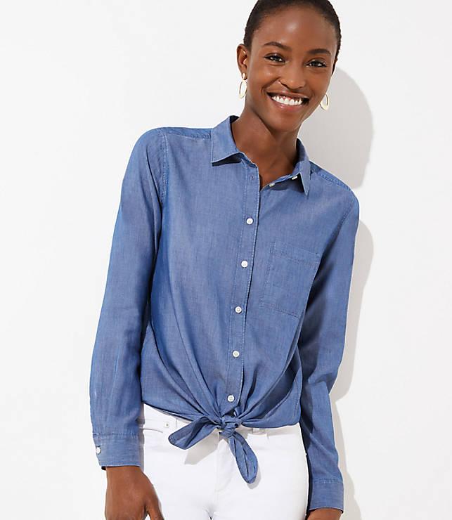 90207b909b7587 Chambray Button Down Shirt