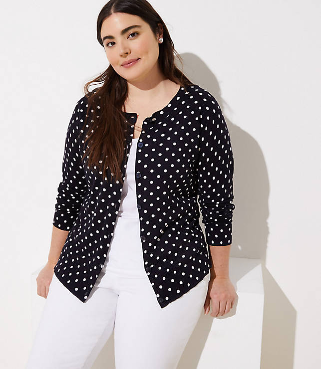Loft Plus Dotted Signature Cardigan by Loft