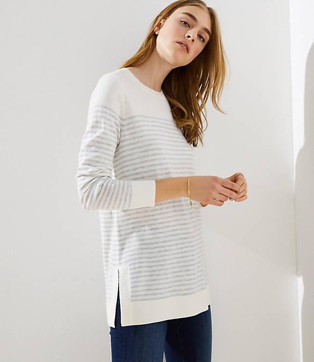 df17374750ddc9 Petite Striped Side Slit Tunic Sweater | LOFT