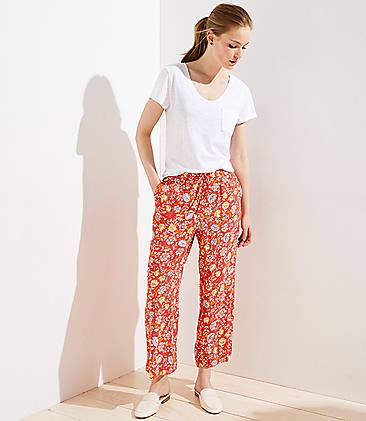 64b1fe9e33f Floral Fluid Drawstring Pants