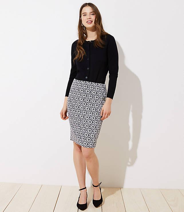 41b88bffe7 Floral Jacquard Pull On Pencil Skirt | LOFT
