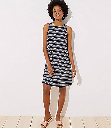 71951cca7a Striped Back Cutout Sleeveless Swing Dress