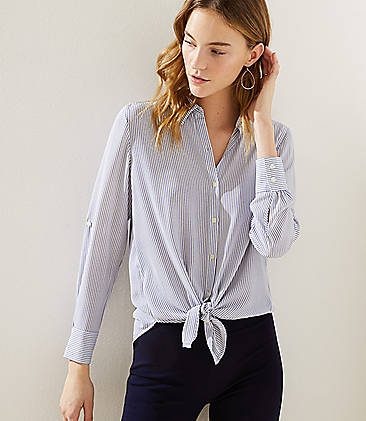 1fe562ea5e083 Striped Tie Hem Utility Blouse