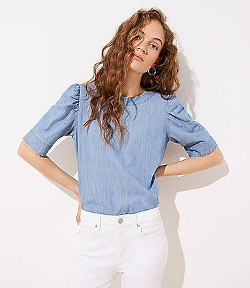 89e6214bf4ebc7 Petite Chambray Puff Shoulder Blouse