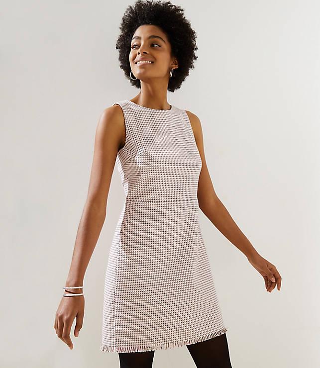 Petite Fringe Tweed Sheath Dress