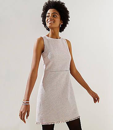 634fcb9b27 Petite Fringe Tweed Sheath Dress