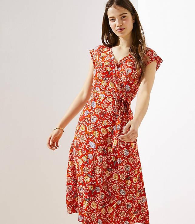 efb163c356f0 Floral Ruffle Midi Wrap Dress | LOFT