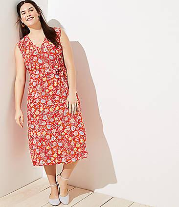 e64a48cda65e LOFT Plus Floral Ruffle Midi Wrap Dress