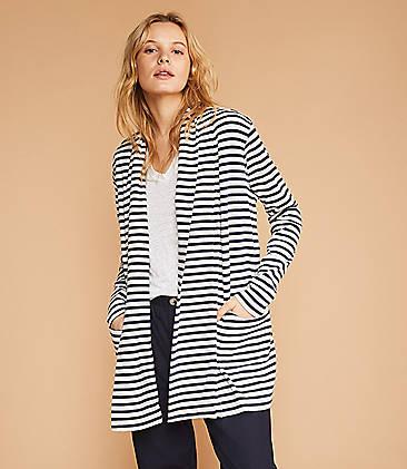 f378741f767 Lou & Grey Striped Conscious Cotton Pocket Open Cardigan